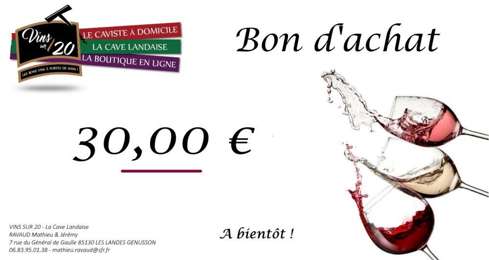 Bon d'achat 30 € cave landaise