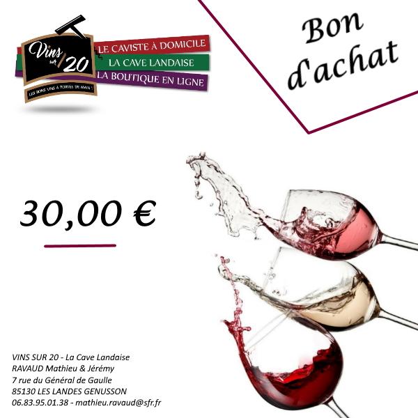 Bon d'achat 30€ la cave landaise vins sur 20